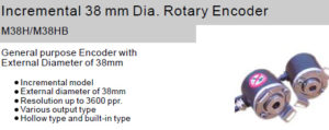 Fox Incremental 38 mm Dia. Rotary Encoder M38H/M38HB Hollow shaft type/Built-in type