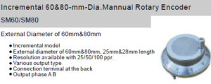 Fox Incremental 60&80-mm-Dia.Mannual Rotary Encoder SM60/SM80 Manual handled type